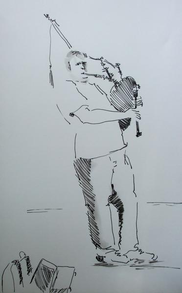 Drawing of a Bag Pipe Player.JPG