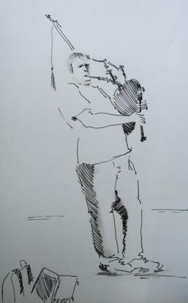 Linear sketch of a bag pipe player busking in Cardiff, drawn by Pauline Williams, local artist.