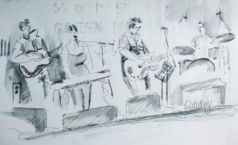 Ink drawing of four young musicians - guitar, keys, bass guitar and drummer. Speakers sit in front and microphones abound the stage.