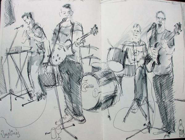 Drawing of a band called The Vaseline's at Penarth Pavillion by Pauline Williams.