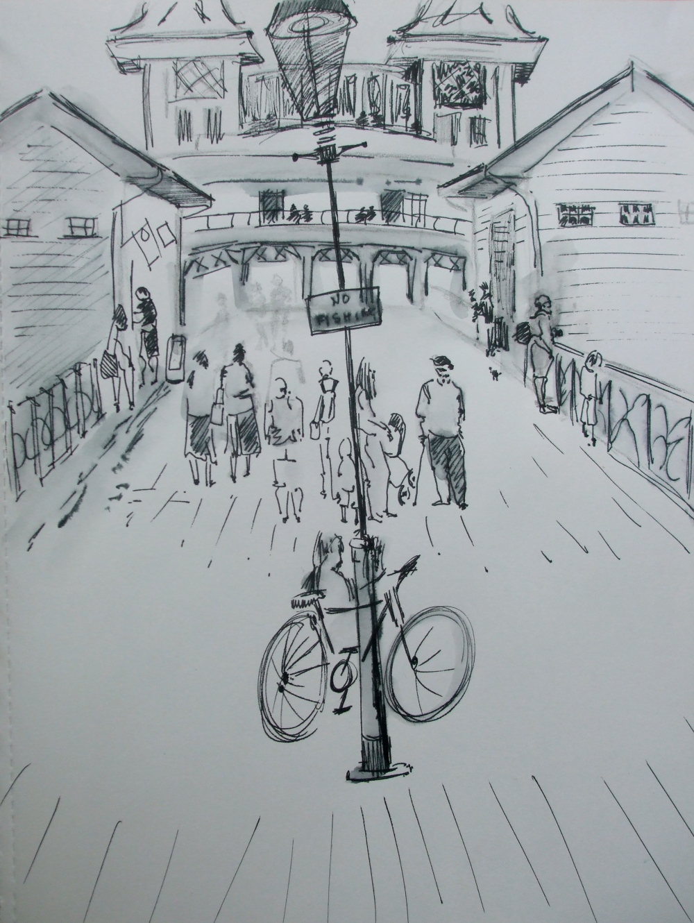 Penarth Pier sketch by Pauline Williams artist.JPG