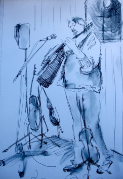 Ink drawing of Mr Phil Beer playing guitar at the Norwegian Church in Cardiff Bay.
