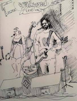 Ink Sketch of musicians Polly and the Billets Doux by Pauline Williams Art. Wychwood banner hangs over. Speakers sit in front.
