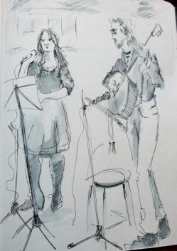 Sketch of a musical duo called Sweet Solace performing at the Penarth Pavillion on a Saturday night.