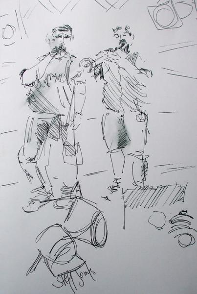 Wychwood Festival drawing of The Stiff Joints Musicians.JPG