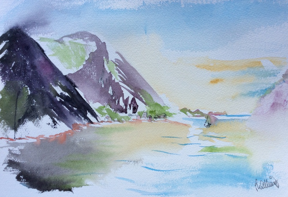 Mountainscape in watercolour of the Arctic Circle.