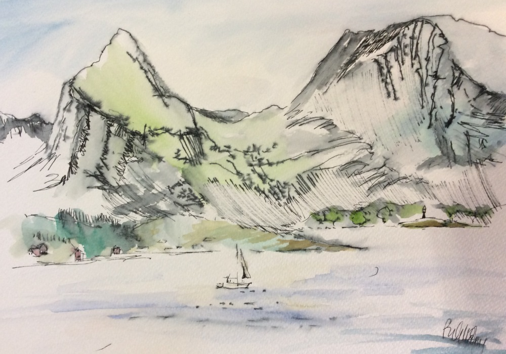 Pen and ink watercolour drawing of magnificent Norweigan mountains.