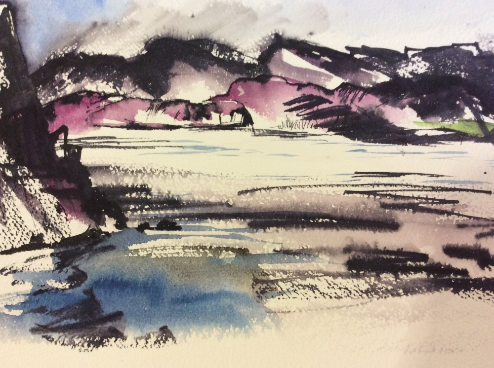 An ink and watercolour study of The Arctic Circle.