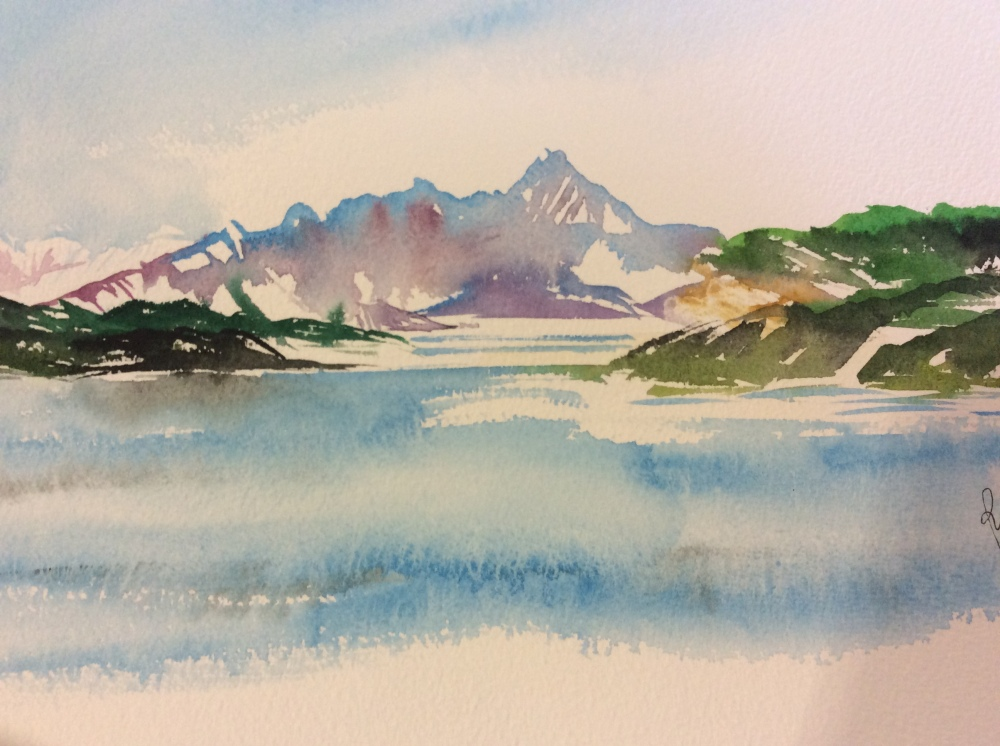 A watercolour study of Arctic mountains.