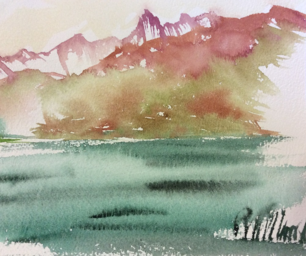 A watercolour painting of spectacular mountains in Spitsbergen.