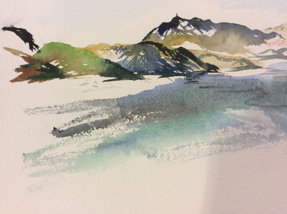 Watercolour painting of Norweigan fjords.