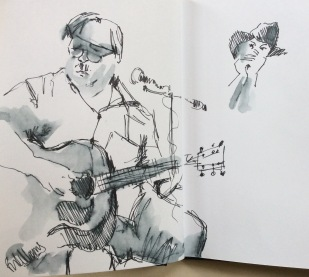 A guitarist playing.