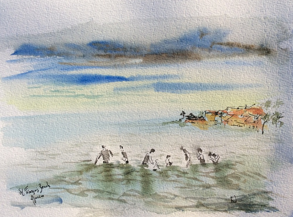A watercolour study of a beach scene.