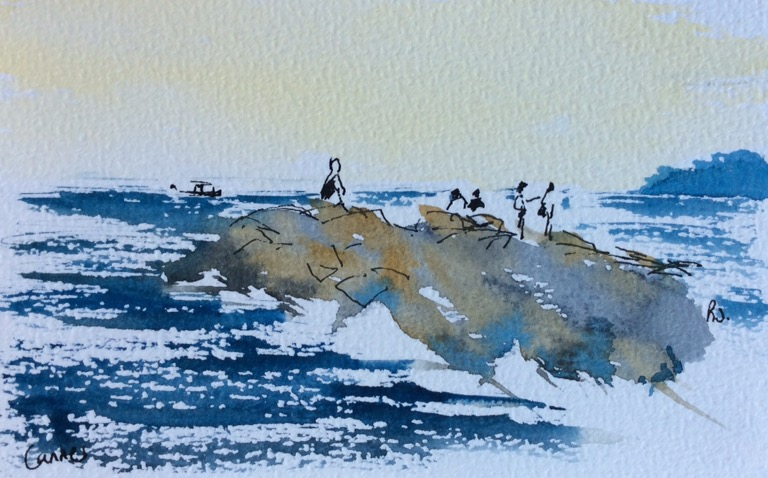 Ink and watercolour study of Cannes beach.